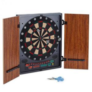 OneConcept Dartmaster 180 elektromos céltábla nyilakkal és ajtókkal, barna kép