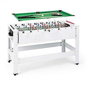 KLARFIT Spin 2 az 1-ben, játékasztal, biliárd, csocsó, 180°-ban elfordítható, játéktartozékok, fehér kép