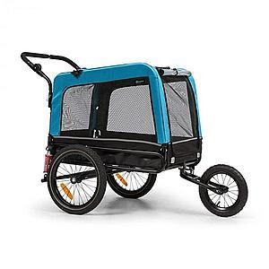 KLARFIT Husky Vario, 2 az 1-ben, kutya utánfutó, kutyaszállító kocsi, kb. 240L, 600D, Oxford, kék kép