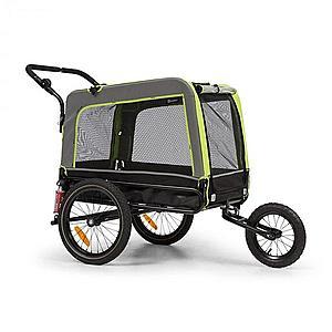 KLARFIT Husky Vario, 2 az 1-ben, kutya utánfutó, kutyaszállító kocsi, kb. 240L, 600D, Oxford, zöld kép