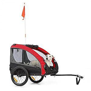 KLARFIT Husky Race, kerékpár utánfutó kutyáknak, 282L, 40KG, 600D, oxford szövet, piros kép