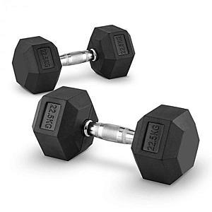 Capital Sports Hexbell 22, 5 Dumbbell, egykezes súlyzó pár, 22, 5 kg kép