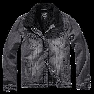 Brandit Sherpa denim kabát szőrmével, fekete kép
