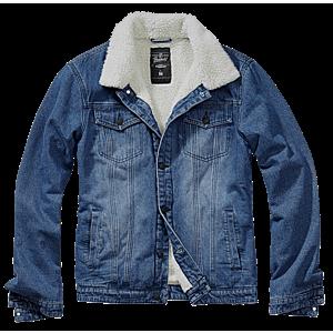 Brandit Sherpa denim kabát szőrmével, kék kép