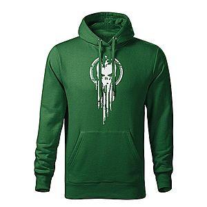 WARAGOD kapucnis férfi pulóver skull, zöld 320g / m2 kép