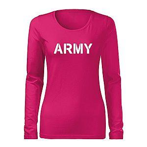 WARAGOD Slim női hosszú ujjú póló army, rózsaszín 160g/m2 kép