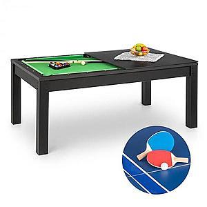 OneConcept Liverpool, 3 az 1-ben, játékasztal, 7' biliárdasztal, asztalitenisz, étkezőasztal, fekete kép