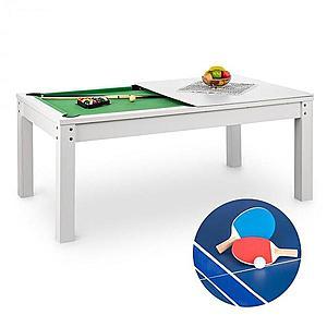OneConcept Liverpool, 3 az 1-ben, játékasztal, 7' biliárdasztal, asztalitenisz, étkezőasztal, fehér kép