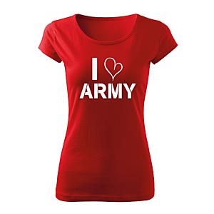 WARAGOD női rövid ujjú trikó i love army, piros 150g/m2 kép