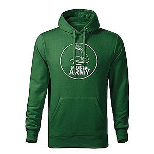 WARAGOD kapucnis férfi pulóver muscle army biceps, zöld 320g / m2 kép