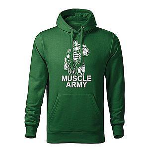 WARAGOD kapucnis férfi pulóver muscle army man, zöld 320g / m2 kép