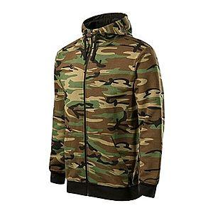 Malfini Camo Zipper terepmintás pulóver kapucnival, barna, 300 g / m2 kép