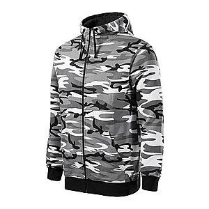 Malfini Camo Zipper terepmintás pulóver kapucnival, szürke, 300 g / m² kép