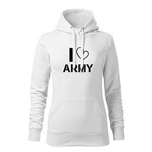 WARAGOD kapucnis női pulóver i love army, fehér 320g / m2 kép